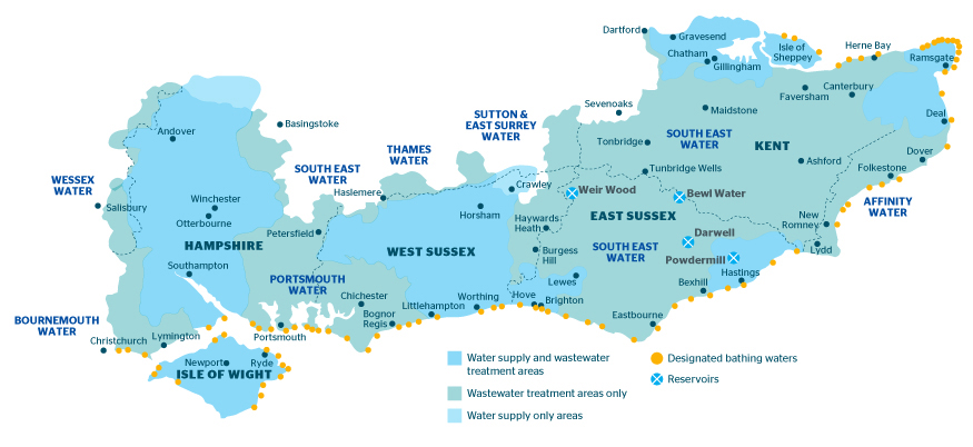Our Area Of Operation Southern Water Water And Wastewater
