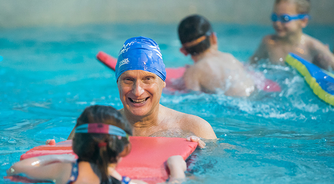 Duncan Goodhew with one of the achievers